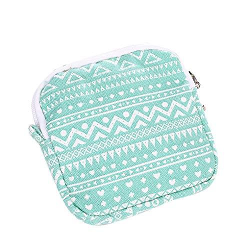 Dorical Damenbinde Taschen Wasserdichte Aufbewahrungstasche, Kulturtasche, Toilettentasche, mit Reißverschluss, für Tücher, Münzen, Make-up, Baumwolle Damen-Hygieneartikel(Grün)