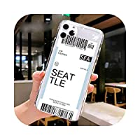 Fundas For Apple iPhone 11 12 Pro Max 7 8 Plus 12mini SE2020ケースカバーソフトTPUエアチケットレターラベルカントリーフォンケース -15-For iPhone 11