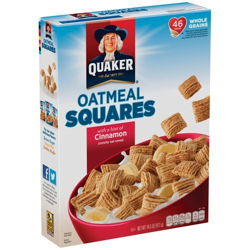 Quaker Oatmeal Squares Cereal, Cinnamon, 14.5-Ounce Boxes (Pack of 2)