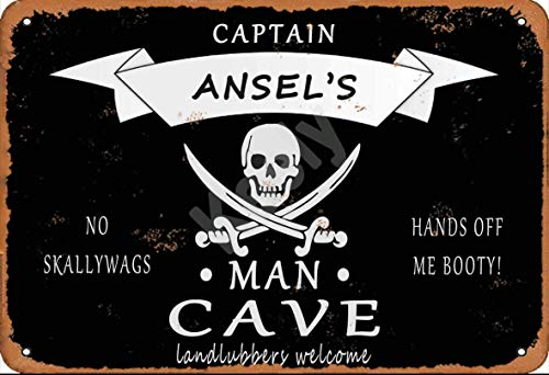 560 WENKLL Pirate Captain Ansel'S Man Cave Landlubbers Welcome Metal Sign 8x12inch Pub Shed Bar Man Cave Home Bedroom Office Kitchen Gift