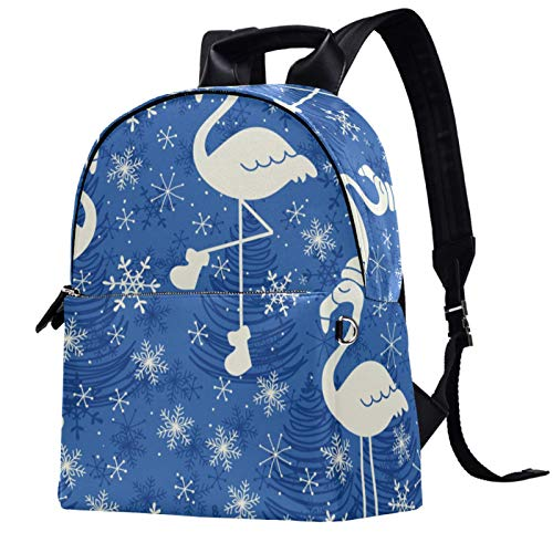 Casual leather Backpack Shoulders Bag Women Backpack Fashion Travel Crossbody Bag,Christmas Blue Snowflake Flamingo