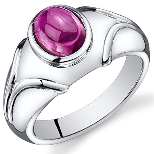 Peora Mens Created Ruby Cabochon Ring Sterling Silver 3.00 Carats Size 8