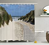Seaside Decor Collection, Wavy Surface Traveling Greenery European Natural Shoreline Coastal View Cloudscape Image, Polyester Fabric Bathroom Shower Curtain, 60 x 72 Inches, Ivory Blue