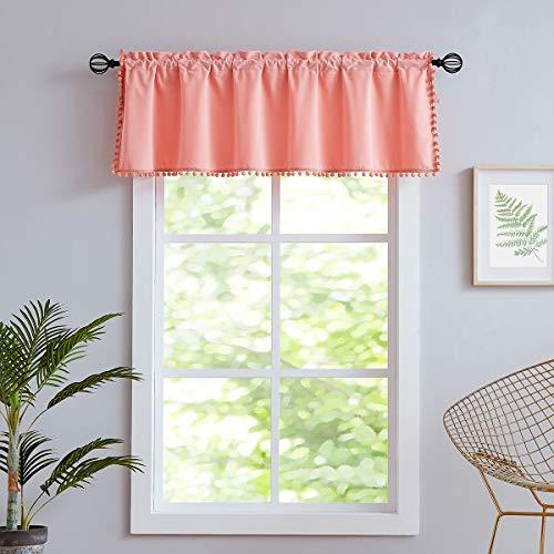 "Treatmentex Velvet Valances for Bathroom Window 18"" Short Pom Pom Valance for Bedroom Blush Pink,56"" w 1Panel Coral"