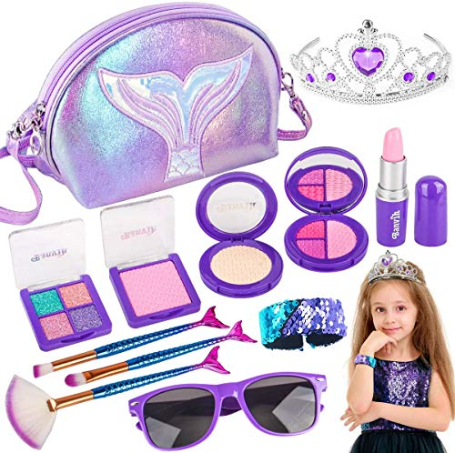 Banvih Makeup Kit for Girls-Pretend Play Toy Makeup Set for Kids Toddlers with Princess Crown, Purse, Lipstick,Brush Toys for Little Girls (Not Real)