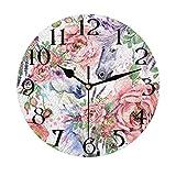 Lerous - Reloj de pared redondo sin garrapatas, diseño de unicornio mágico de acuarela y...
