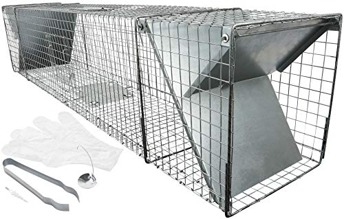 Trampa para zorro extra grande de 150cm XXL, con muchos accesorios, captura fácil y rápida, impermeable y robusta, con 2entradas para martas, zorros, mapaches