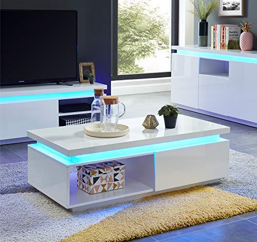 BAÏTA Cosmos Table Basse à LED, laqué, Blanc, 120cm