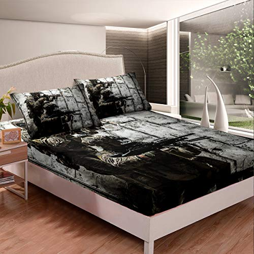 Erosebridal Soldier with Weapon Fitted Sheet, Boys Teens Under Mission Sheet Set, Army Rifle Machine Gun Bedding Set, Military Themed Bedclothes Queen Size Camouflage Bedroom Decoration for Youth Man
