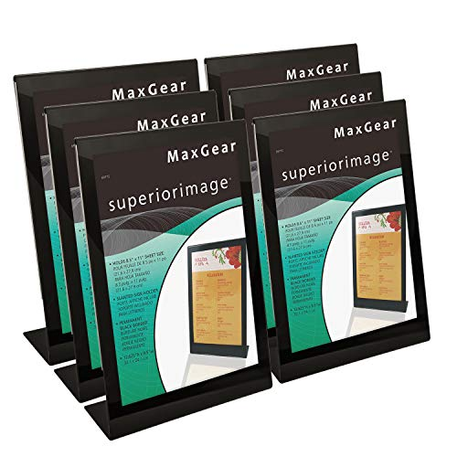 MaxGear Slant-Back Sign Holder, Acrylic Sign Holders, Clear Acrylic Stand Holder 8.5 X 11 inches, Extra Thick Sign Holder, Display Stand Ad Frame for Office, Home, Store, Restaurant, 6 Pack