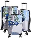 Trendyshop365 Hartschale Koffer-Set mit Motiv 3-teilig Beach 4 Räder Bunt Strand Zahlenschloss