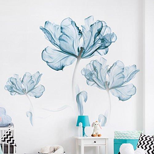 SU&HIN Bleu Fleur Wall Sticker,Autocollant de Mur créatif pour Chambre Mur décoration Fond Autocollants Autocollant Papier Peint-A 110x180cm(43x71inch)