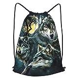 Howling Wolf Mochila deportiva con cordón, impermeable, para gimnasio, gran escuela, mochila diaria, bolsa de natación, para niños, niñas, estudiantes, con cordón, paquete de correa