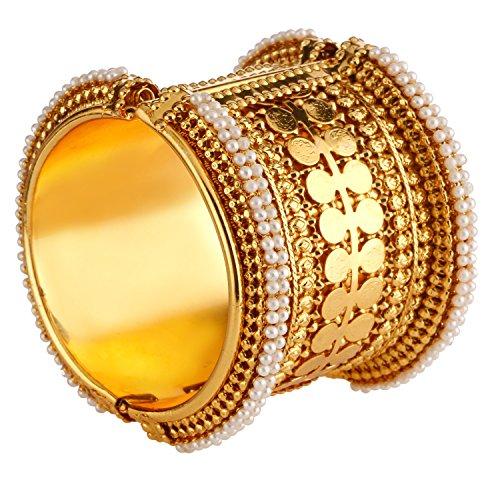 Efulgenz Fashion Jewellery Indisches Bollywood Antik Vergoldet Faux Perle Münze Stil Armband Armreif (1 Stück) für Frauen