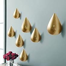 CasaJame Casa Arredamento Decorazione Accessori Set di 2 Appendiabiti a Parete a Forma di Ancora Alluminio Oro Altezza 11-14cm