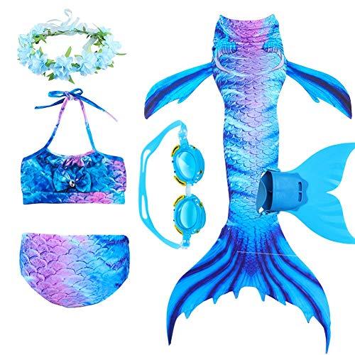 6 Pcs Muchachas Cola De Sirena para Nadar Bikini Set Niños Trajes De Baño Tankini Monopalme Traje De Cosplay Sirena Cola Monofin para Nadar,D,120CM