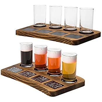 MyGift 4-Glass Dark Brown Wood Beer Flight Sampler Serving Tray with Chalkboard Labels Set of 2