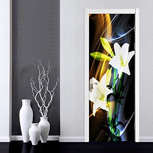 DFKJ Arte Autoadhesivo Flores Hermosa calcomanía Pegatina decoración de la Puerta del hogar renovación Papel Tapiz impresión Imagen para Sala de Estar A1 86x200cm
