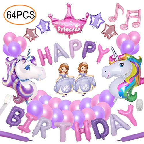 64pcs Unicorn Party Decoration Supplies Yidaxing 2pcs Enorme Palloncino Unicorno 1pcs Buon Compleanno Ballon Banner e 48pcs Lattice Ballons del Partito per ragazze bambini bambino (Rosa Viola)