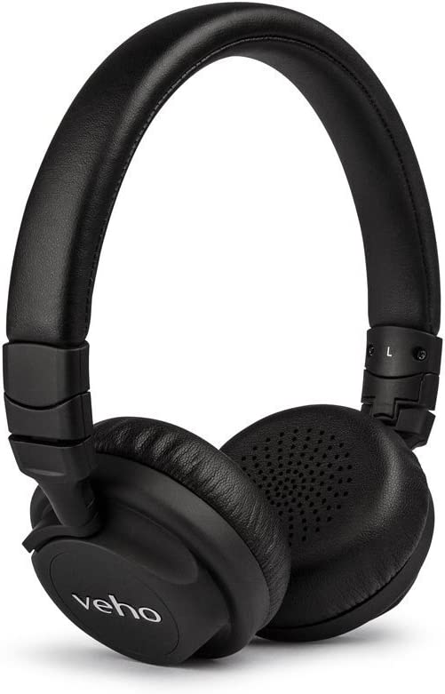 Veho Z-4 On-Ear Wired Headphones | Foldable Design | Leather Fin
