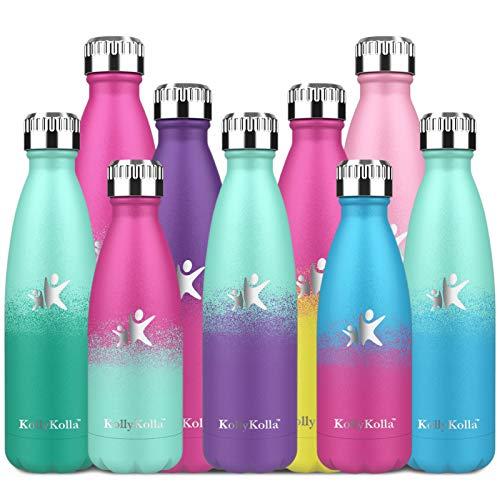 KollyKolla Borraccia Termica - 350ml/500ml/650ml/750ml Bottiglia Bambini Alluminio Bottiglia Acciaio Inox Acqua Termos da Viaggio Inossidabile Borracce Termiche Senza BPA per, Ufficio, Yoga, Ciclismo