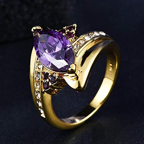 RVXZV Anillo de Plata 925 Color Dorado con Piedra de Amatista Ovalada púrpura Piedra Mujer Joyería de Plata Talla 6-10