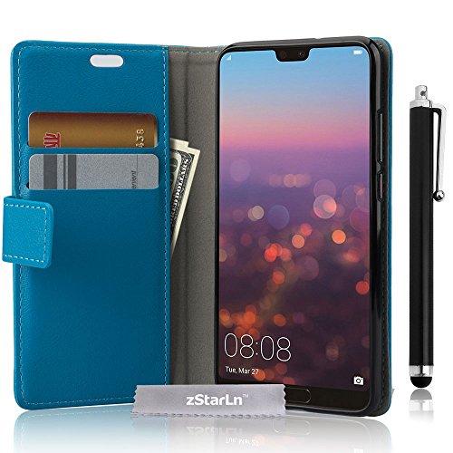 zStarLn Cover Huawei P20, Portafoglio PU Pelle Magnetico Morbido Silicone Flip Cover Bumper Protettivo Gomma Borsa Custodie per Huawei P20, Cielo Blu