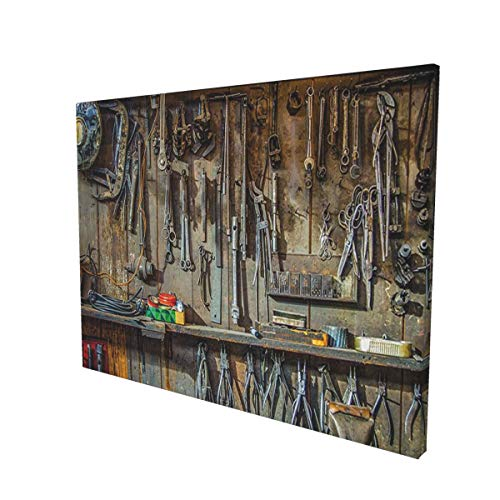 Man Cave Decor Vintage Tools Hanging On A Wall In A Tool Shed Workshop Fixing Equipment Multicolorpainting 12' X 16' Panoramic Canvas Wall Art