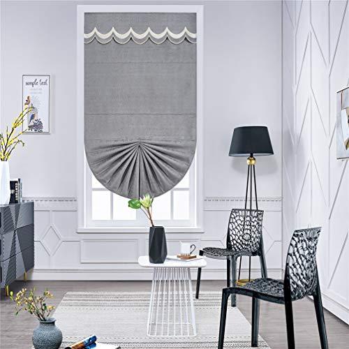 AMON LL Vorhänge Jacquard Raffrollo, Blumenmuster, graues Chenille, Fensterbehandlung, Vorhänge für Heimdekoration, W120CM