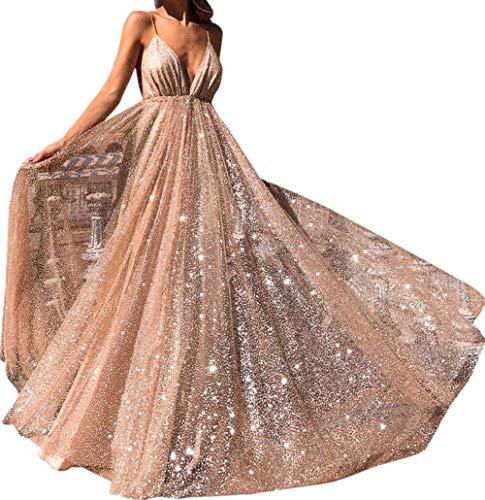 abito donna 18 anni DEELIN Moda Tendenza Nobile Donne Pizzo Solido Manica Indietro Hollow V-Collo Lunga Festa Vestito Elegante