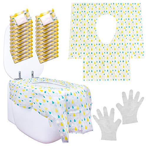ZSTART, il primo Copriwater con 2 guanti igienici, resistenti, portatili, grandi dimensioni 60x65 cm, ideali per adulti e bambini, dal design accattivante. Set 20 copri wc usa e getta