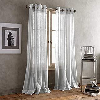 DKNY Crisscross Sheer 84-Inch Grommet Top Window Curtain Panel in Grey