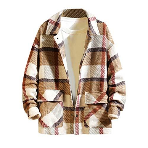 MAYOGO Herren Fleecejacke Kariertes Holzfäller Jacke Buttons Down Strick Freizeitjacke Fleece Jacke Winterjacke mit Revers (Khaki, L)