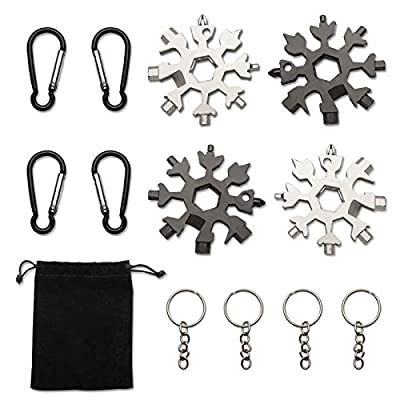 Dongzhur 18-in-1 Snowflake Multi-Tool 4Pack Black&Silver, Stainless Steel Snowflake Bottle Opener/Flat Screwdriver Kit/Wrench, Multitool Combination Compact Portable Outdoor Products Snowflake Tool