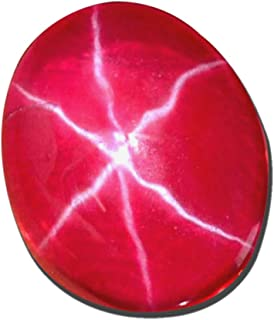 Red Star Ruby Loose Stone Approx 5.00 Ct 6 Rays Oval Cab Star Ruby Gemstone for Crafts Jewelry Bracelets Rings