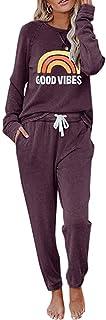 Womens Lounge Sets Sweatsuit 2 Piece Loungewear Long Sleeve Crewneck Sweatshirts Sweatpants