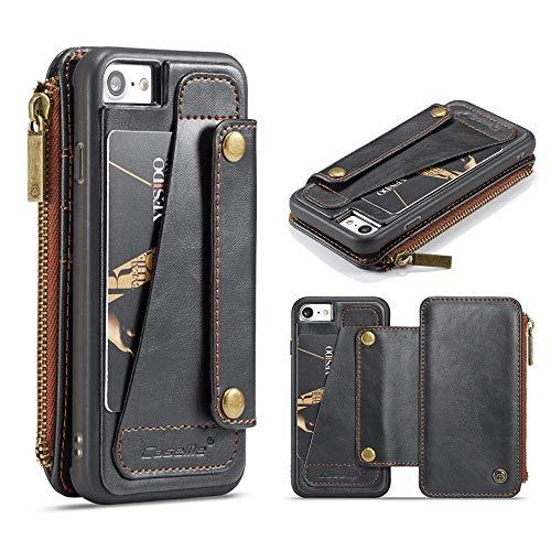 Suney - Funda para iPhone X, de piel sintética, multifunción, con cierre de cremallera, protección de cuerpo completo, con ranuras para tarjetas y bolsillo para dinero para iPhone X/XS de 5,8 pulgadas, color negro, Funda para cartera