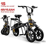 CHA 2 baterías eléctricas Triciclo Plegable de Tres Ruedas de la Bicicleta de montaña Plegable 350W Vespa hasta 30 km 25 kmh,36V