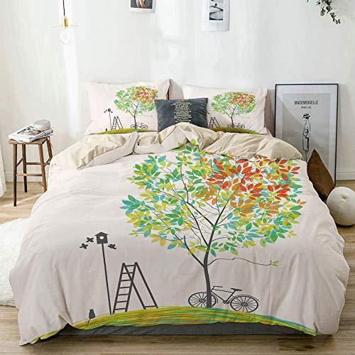 Juego de funda nórdica beige, escalera para bicicletas, silueta de nido de pájaro, estampado, juego de cama decorativo de 3 piezas con 2 fundas de almohada, fácil cuidado, antialérgico, suave y liso