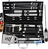 ROMANTICIST 21pc BBQ Grill Accessories Set with Thermometer - Ideal Grill Gift for Men Women on...