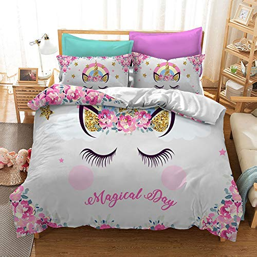 choicehot Kids Duvet Cover Unicorn Pink Flower Bedding Set Magical Day Dreamy Quilt Cover Expression Pattern Printed on Off White Comforter Cover (3pcs, King Size)