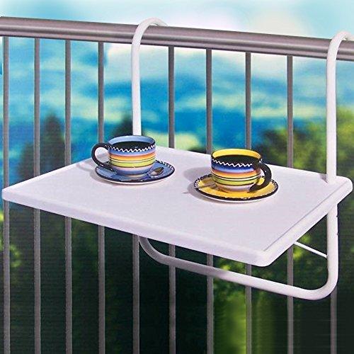 BAKAJI Tavolino Da Balcone Tavolo Pieghevole Da Ringhiera Altezza Regolabile A 3 Livelli Dimensioni 53X40Cm Bianco