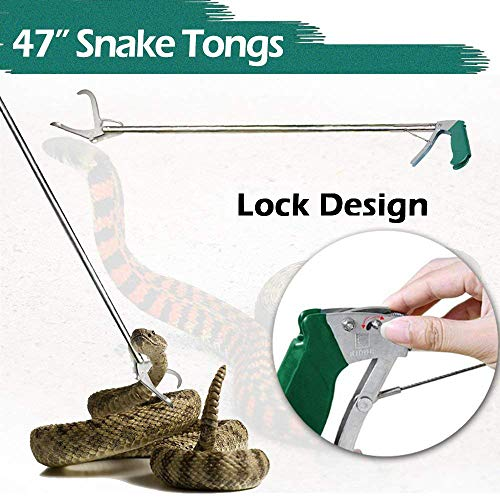 IC ICLOVER 47 Inch Extra Heavy Duty Standard Reptile Snake Tongs Reptile Grabber Rattle Snake Catcher Wide Jaw Handling Tool
