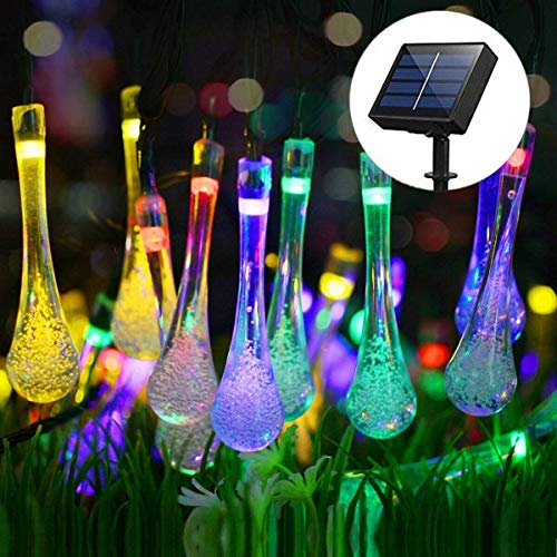 Multicolor Solar Outdoor String Light 20LED 4M Water Drop Fairy String Lights Waterproof Solar Powered Christmas Raindrop Decoration Light Garden Home Tree Party