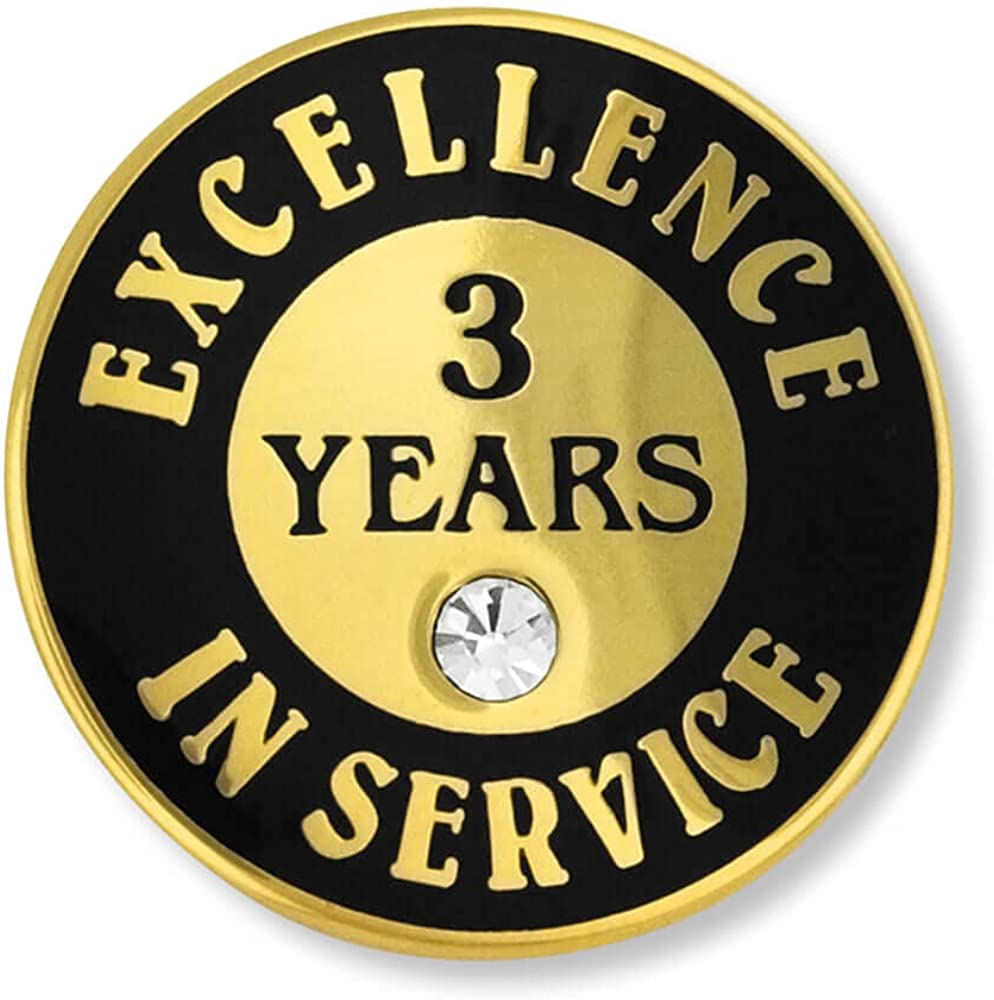 PinMart Gold Plated Excellence in Service 3 Year Award Lapel Pin
