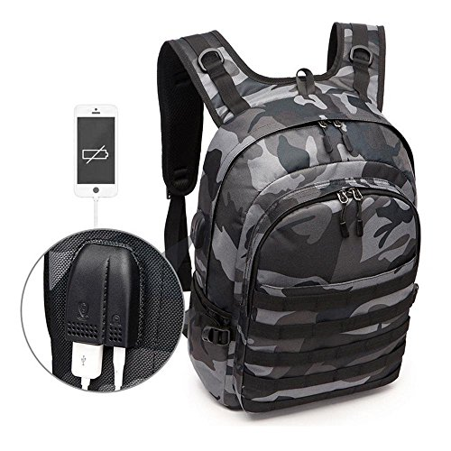 BININBOX Tactical Laptop Backpack Military PUBG Level 3 Backpacks with USB Charging Port College School Bag Outdoor Travel for Camping Trekking Hunting Camouflage Rucksack (Large)