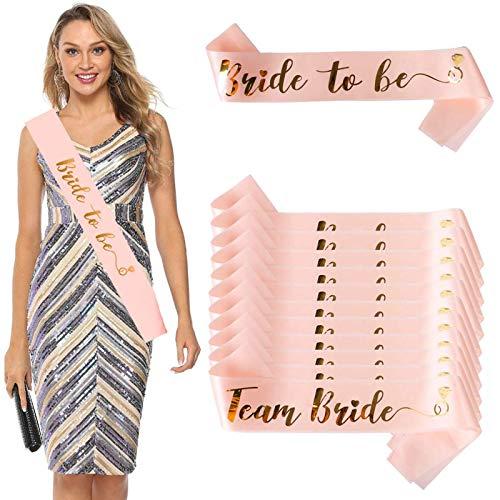DANXIAN 12 Stück JGA deko Bride Tribe Schärpen Set 1 Rosé Gold Braut Schärpe + 11 Team Braut Schärpe für Hochzeit Junggesellinnenabschied Hen Party