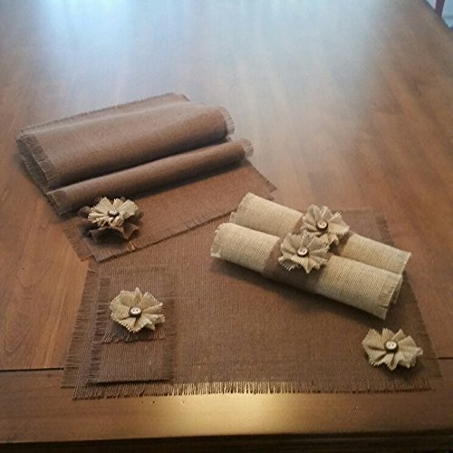 Burlap Rustic Brown Table Runners, Placemats, Silverware Holders, Napkin Rings or Decorative Napkins with Handmade Natural Flower Accent (Quantities of 4 or 6)