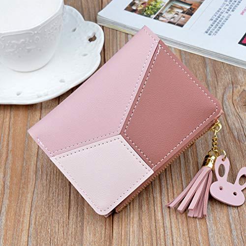 Las mujeres de moda Costura Color Corto Monedero Fringe Cremallera Multi-tarjeta Monedero rosa