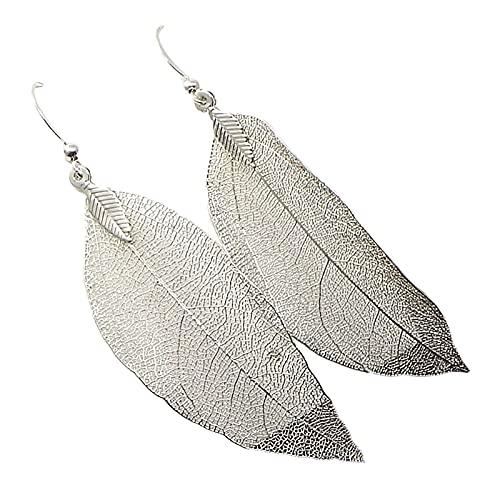 minjiSF Pendientes de hojas plateados naturales para mujer, plumas, calidad gota, largos, minimalistas, hechos a mano #002 Talla única